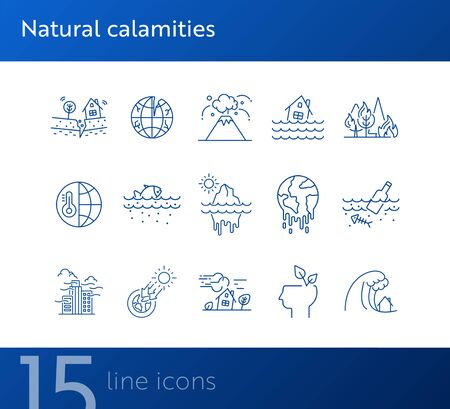 Natural calamities icons. Set of line icons. Forest fire, earthquake, melting glacier. Ecology concept. Vector illustration can be used for topics like environment protection, nature  イラスト・ベクター素材