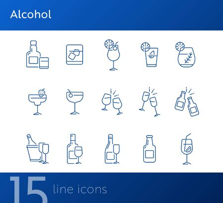 Alcohol line icons. Set of line icons. Glass with cocktail, bottle with glasses. Beverage concept. Vector illustration can be used for topics like advertising, business Foto de archivo - 134739501