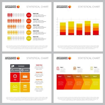 Collection of multicoloured infographic style can be used for web design, presentation slide, annual reports. Business finance concept with bar, matrix, process charts Ilustracja