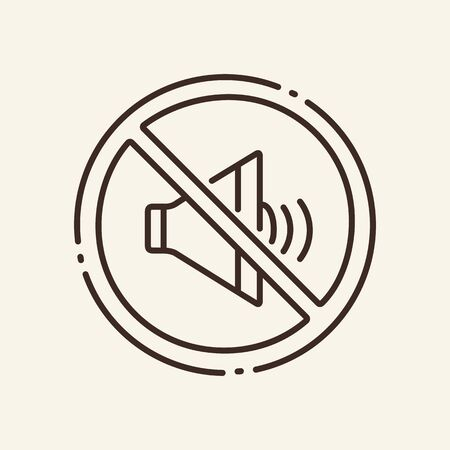Prohibition of loudness thin line icon. No sound, circular stop, speaker isolated outline sign. Artificial intelligence concept. Vector illustration symbol element for web design and apps.