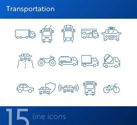 Transportation line icon set. Tram, camper, van, bus, bicycle. Transport concept. Can be used for topics like vehicle, traffic, travel, delivery
