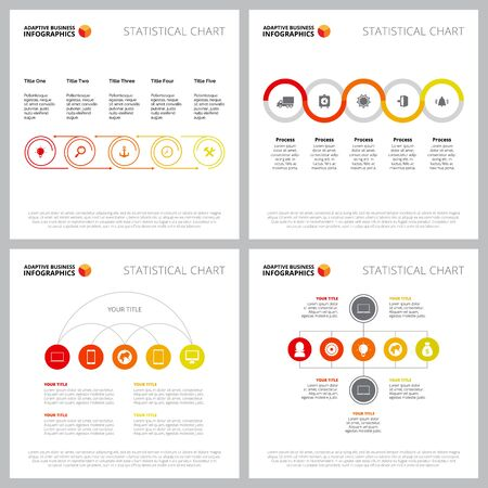 Collection of modern infographic template can be used for web design, presentation slide, report. Business and marketing concept with process, organizational charts