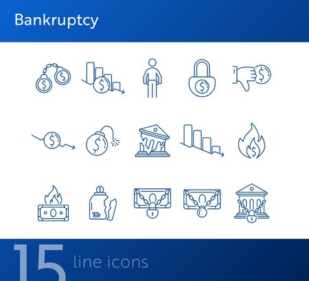 Bankruptcy icons. Set of line icons on white background. Financial crime, decrease, burning money. Economic depression concept. Vector illustration can be used for topics like finance, banking, money Vettoriali