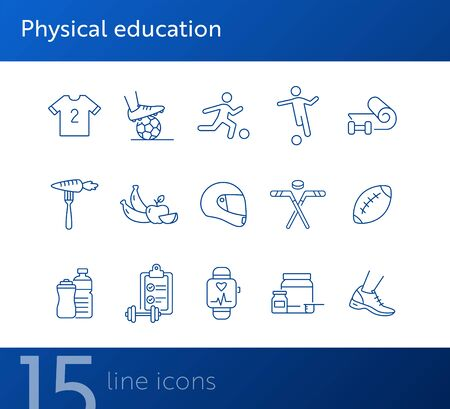 Physical education line icon set. Soccer, game, supplement. Sport concept. Can be used for topics like fitness, recreation, wellness Foto de archivo - 134862246