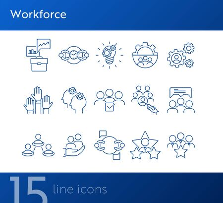 Workforce line icon set. Work process, team, staff, employees, rate. Human resource concept. Can be used for topics like personnel management, HR, teamwork