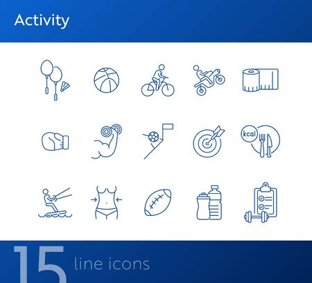 Activity line icon set. Cycling, game, slimming. Exercising concept. Can be used for topics like sport, physical activity, active lifestyle Foto de archivo - 134862249