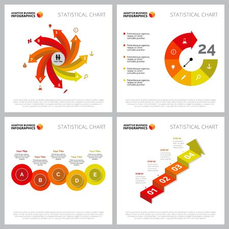 Modern infographic design collection can be used for web design, presentation slide, analysis. Business and marketing concept with process, timing, step charts Ilustracja