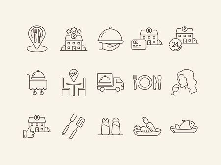 Restaurant service app line icon set. Building, dish on cart, delivery, rate isolated outline sign pack. Restaurant business concept. Vector illustration symbol elements for web design Banque d'images - 134862338