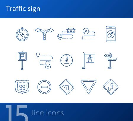 Traffic sign icons. Parking sign, yield ahead, access denied. Road sign concept. Vector illustration can be used for topics like traffic, road marking, traffic striping Vector Illustration