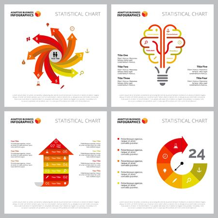 Colorful infographic design collection can be used for web design, presentation slide, reports. Business and marketing concept with arrow, light bulb and circle charts
