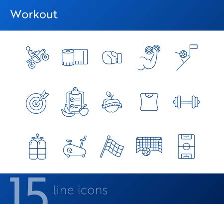 Workout line icon set. Game, sport equipment, diet. Healthy lifestyle concept. Can be used for topics like training, wellness, exercising Foto de archivo - 134862375