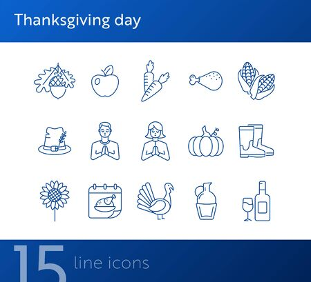 Thanksgiving day line icon set with praying people and food. Wine, pumpkin, acorn, carrot, hat, fruit. Thanksgiving concept. Can be used for topics like autumn, holiday, dinner, harvest