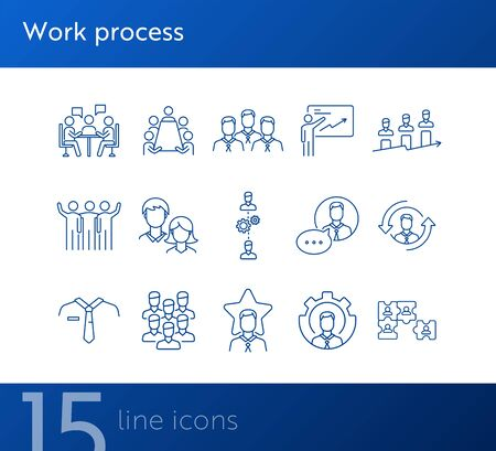 Work process icons. Puzzle of workers, diagram, men speaking. Job concept. Vector illustration can be used for topics like work, business, job