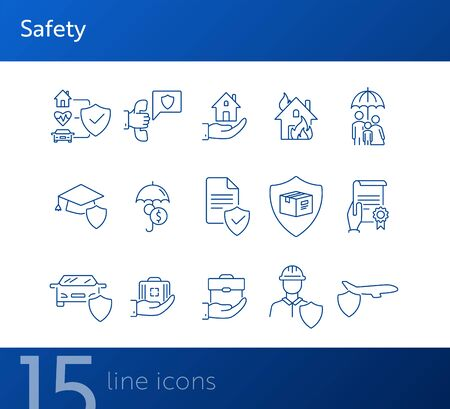 Safety line icon set. Protection, home, document. Insurance concept. Can be used for topics like accident, property, damage Ilustração