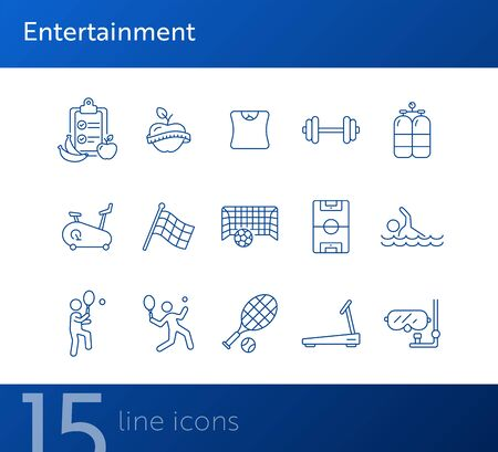 Entertainment line icon set. Tennis, soccer, diet. Sport concept. Can be used for topics like game, activity, wellness Foto de archivo - 134858287