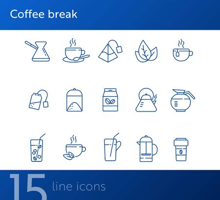 Coffee break line icon set. French press, tea pot, glass and straw. Drink concept. Can be used for topics like coffee shop, cafe menu, restaurant