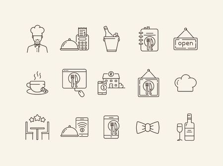 Best restaurant line icon set. Wine, table, dish, high rate isolated outline sign pack. Restaurant business concept. Vector illustration symbol elements for web design and apps Banque d'images - 134739246