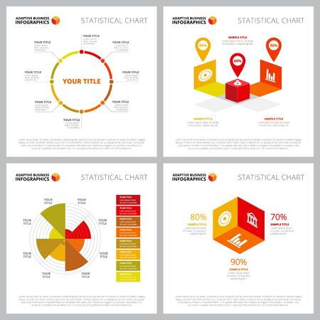 Colorful infographic template collection can be used for web design, presentation slide, reports. Business and marketing concept with circle, pie, percentage charts Ilustracja