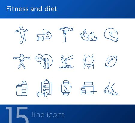 Fitness and diet line icon set. Diet, exercising, game. Wellness concept. Can be used for topics like sport, healthy lifestyle, activity Foto de archivo - 134858299