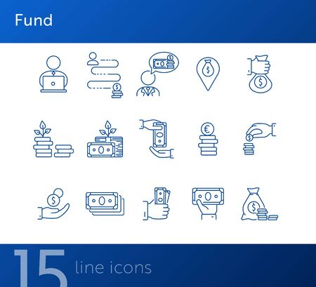 Fund icons. Line icons collection on white background. Saving, money location, wealth. Money concept. Vector illustration can be used for topic like business, banking, finance Ilustração
