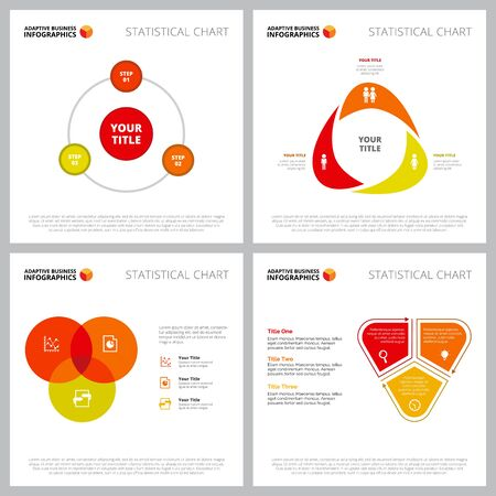 Modern infographic outline set can be used for web design, presentation slide, reviews. Business and marketingconcept with Venn, process, cycle charts Ilustracja