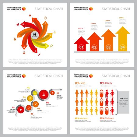 Creative infographic design set can be used for web design, presentation slide, workflow. Business concept with bar, metaphor, arrow charts Illustration