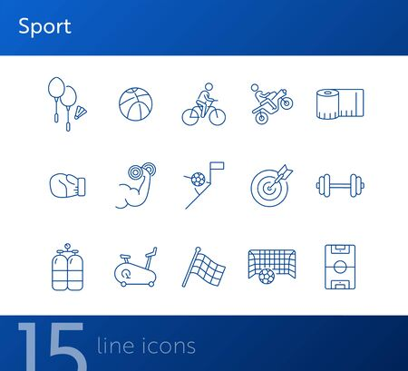 Sport line icon set. Game, competition, exercising. Active lifestyle concept. Can be used for topics like training, leisure, hobby Foto de archivo - 134858321
