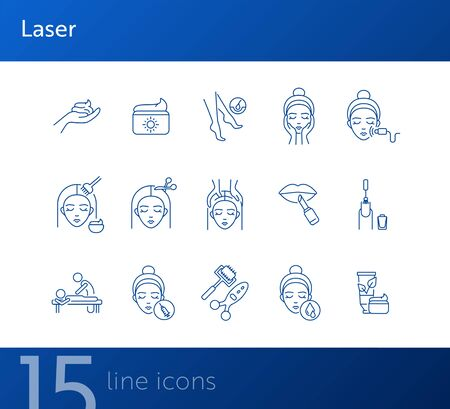 Laser line icon set. Cream, hairdressing, makeup, injection. Beauty care concept. Can be used for topics like skin care, female face, beauty salon