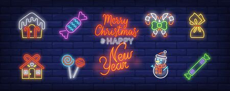 Christmas sweets neon sign set. House shaped candy, lollipop, ice cream . Vector illustration in neon style, bright banner for topics like Xmas, New Year, holiday