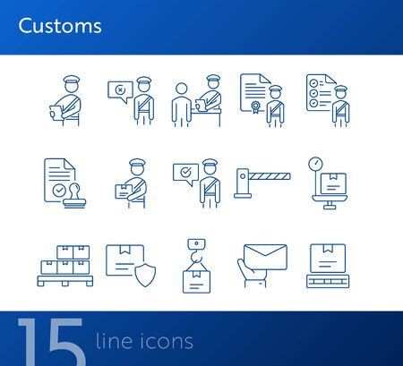 Customs icons. Set of line icons. Customs officer, passport check, custom border. Airport concept. Vector illustration can be used for topics like delivery, immigration, shipping Ilustração