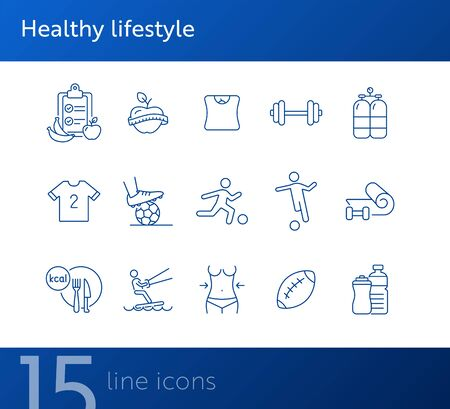 Healthy lifestyle line icon set. Soccer, diet, fitness. Sport concept. Can be used for topics like activity, wellness, lifestyle Foto de archivo - 134858339