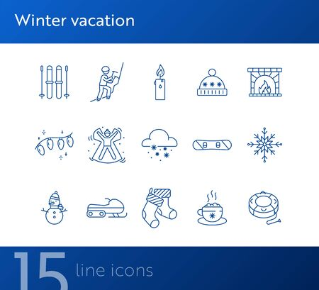 Winter vacation line icon set with ski and fireplace. Mountain climbing, candle, warm hat. Hello winter concept. Can be used for topics like New year, holidays, outdoor activity