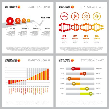 Colorful infographic layout collection can be used for web design, presentation slide, reports. Business and marketing concept with bar, metaphor, process charts