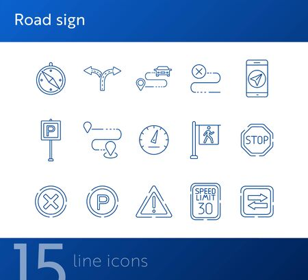 Road sign line icons. Mobile navigation, parking sign, route. Road sign concept. Vector illustration can be used for topics like traffic, road marking, traffic striping