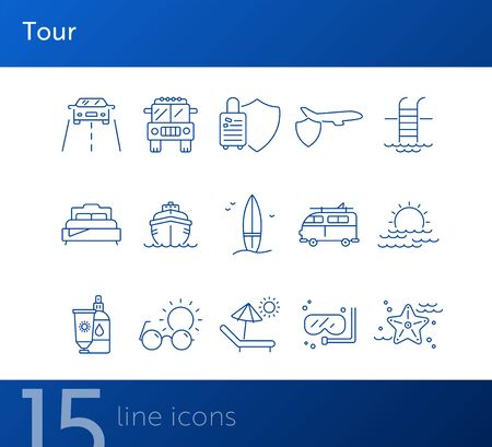 Tour line icon set. car, cruise, swimming pool, sea. Vacation concept. Can be used for topics like travel, beach, resort Ilustração