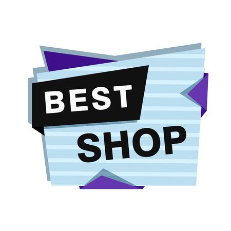 Best shop blue sticker on white background. Lettering can be used for advertising label, stickers, banners, leaflets, badges, tags, posters. Sale concept