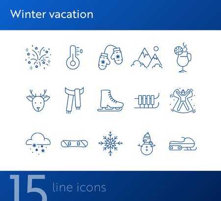Winter vacation line icon set with snow angel and sledge. Ice skates, scarf, Christmas reindeer. Can be used for topics like New year, holidays, outdoor activity