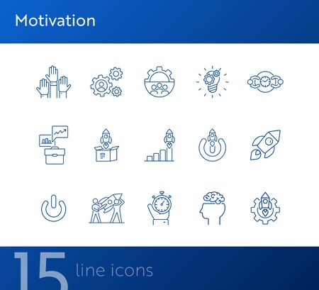 Motivation icons. Set of line icons. Goal, planning..Business concept. Vector illustration can be used for topics like startup, industry, career Ilustracja