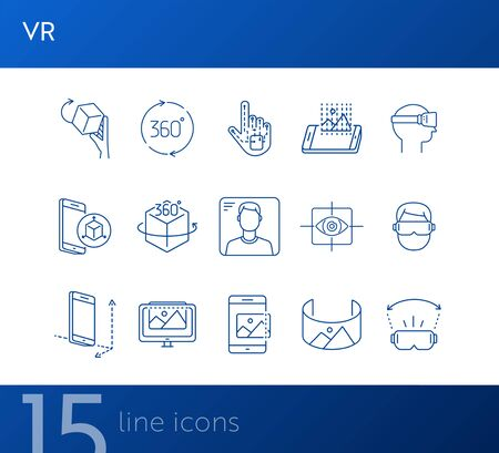 VR line icons. 360 cube, eye scanner, 3D picture. Virtual reality concept. Vector illustration can be used for topics like VR, modern technologies, inventions