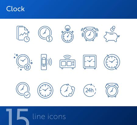 Clock line icon set. Stopwatch, watch, smart band, alarm. Time concept. Can be used for topics like time management, morning, limit Ilustracja