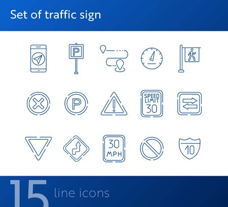 Set of traffic sign line icons. Parking sign, yield ahead, arrow. Road sign concept. Vector illustration can be used for topics like traffic, road marking, traffic striping
