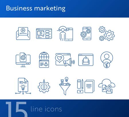Business marketing icons. Set of line icons. Social media, video message, content management. Promotion concept. Vector illustration can be used for topics like advertising, internet, application