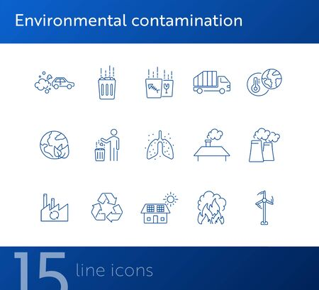 Environmental contamination icons set. Air pollution, planet contamination, greenhouse effect. Environment concept. Vector illustration can be used for topics like environment, nature, industry Vectores