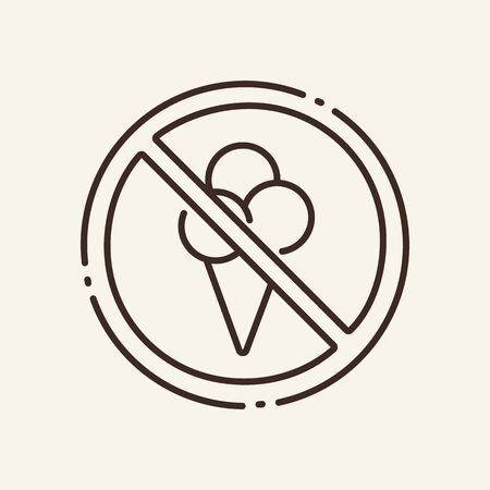 Prohibition of ice cream thin line icon. No food, circular stop, dessert isolated outline sign. Artificial intelligence concept. Vector illustration symbol element for web design and apps
