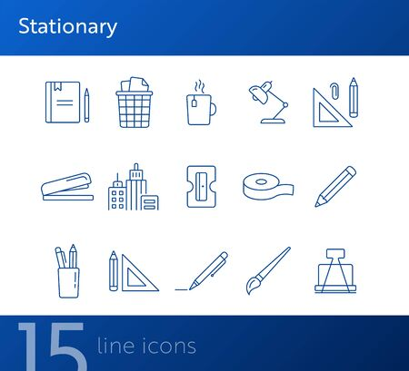 Stationary icon set. Line icons collection on white background. Pencil, art, designer. Office supplies concept. Can be used for topics like business, school, creativity