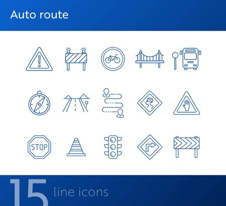 Auto route icons. Set of line icons. Bridge, traffic lights, stop road sign. Traffic concept. Vector illustration can be used for topics like navigation, travelling
