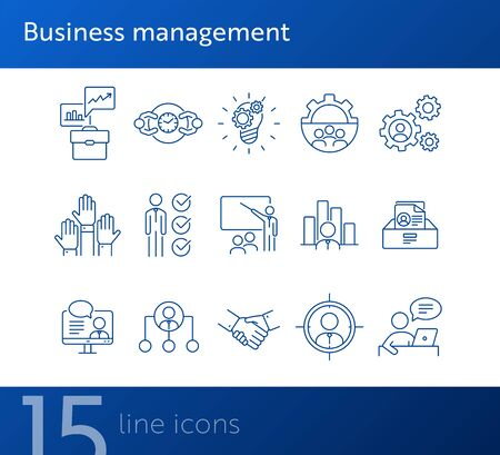 Business management line icon set. Meeting, handshake, presentation. Business concept. Can be used for topics like startup, analysis, leadership Ilustracja