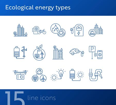 Ecological energy source icons. Set of line icons. City alarm, recycling, quadcopter with box. Alternative energy concept. Vector illustration can be used for topics like environment, ecology