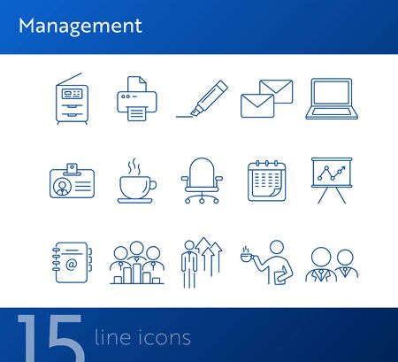 Management icon set. Line icons collection on white background. Employee, document, appliance. Business concept. Can be used for topics like conference, meeting, management