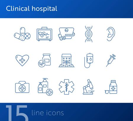 Clinical hospital icons. Set of line icons. Medical kit, dieting pills, infusion. Hospital care concept. Vector illustration can be used for topics like healthcare, medicine, treatment Illustration